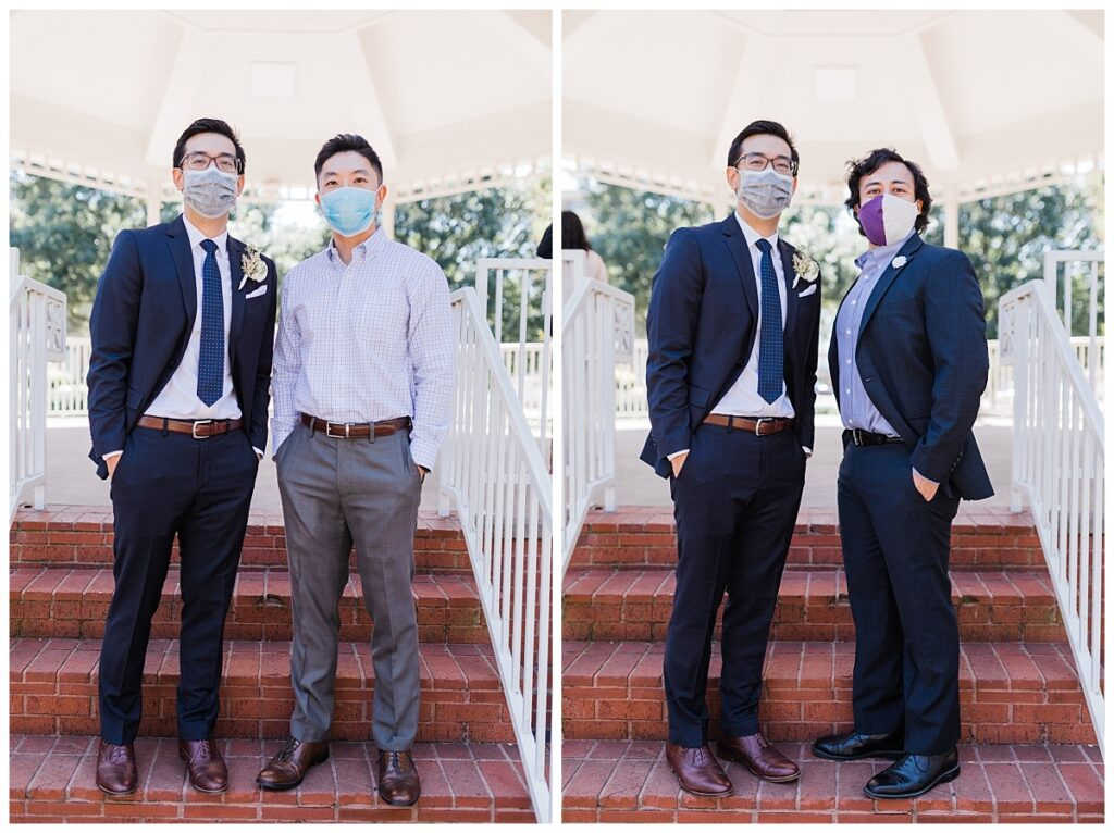 Groom in navy suit poses with grooms men individually under gazebo at Haggard Park in Plano, TX for bridal party portraits by wedding photographer Jenny Bui of Picture Bouquet Studio, a Dallas based wedding photography studio.