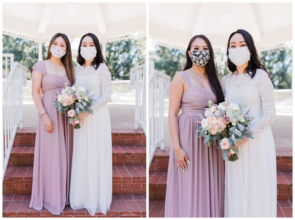 Bride in elegant, minimal white wedding dress poses with bridemaids under gazebo at Haggard Park in Plano, TX for bridal party portraits by wedding photographer Jenny Bui of Picture Bouquet Studio, a Dallas based wedding photography studio.