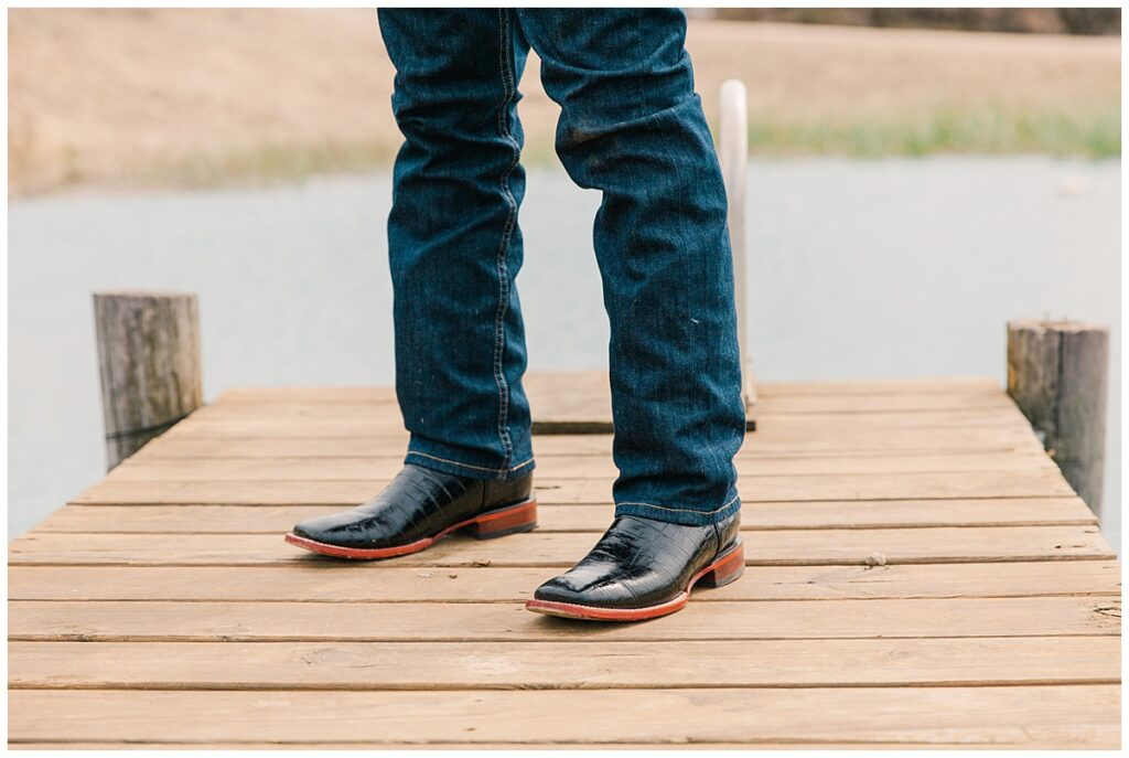 Wedding day black crocodile skin leather boots for outdoor Texas styled wedding at Fort Worth Country Memorial Wedding Venue photographed by Dallas wedding photographer Jenny Bui of Picture Bouquet Studio.