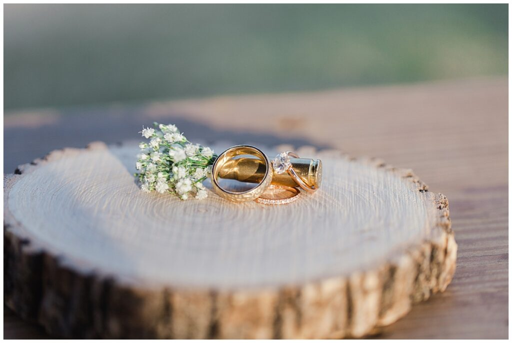 Ring and bullet boutonniere shots  for outdoor Texas styled wedding at Fort Worth Country Memorial Wedding Venue photographed by Dallas wedding photographer Jenny Bui of Picture Bouquet Studio.