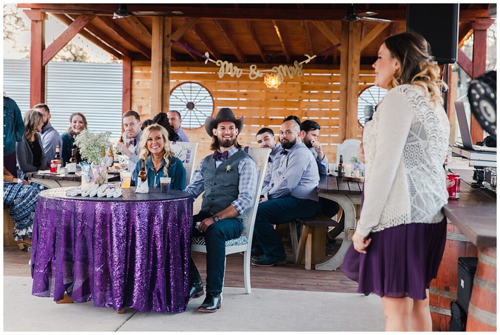 Maid of honor speech for outdoor Texas styled wedding at Fort Worth Country Memorial Wedding Venue photographed by Dallas wedding photographer Jenny Bui of Picture Bouquet Studio.