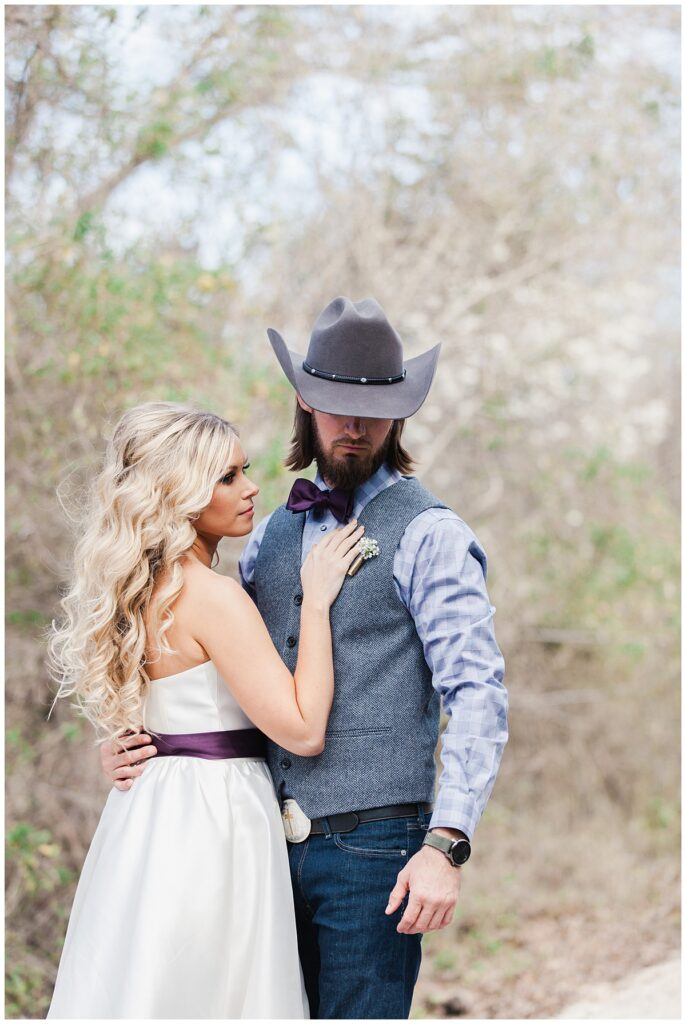 Fort Worth Country Memories Wedding Venue bridal portrait session for outdoor Texas styled wedding at Fort Worth Country Memorial Wedding Venue photographed by Dallas wedding photographer Jenny Bui of Picture Bouquet Studio.