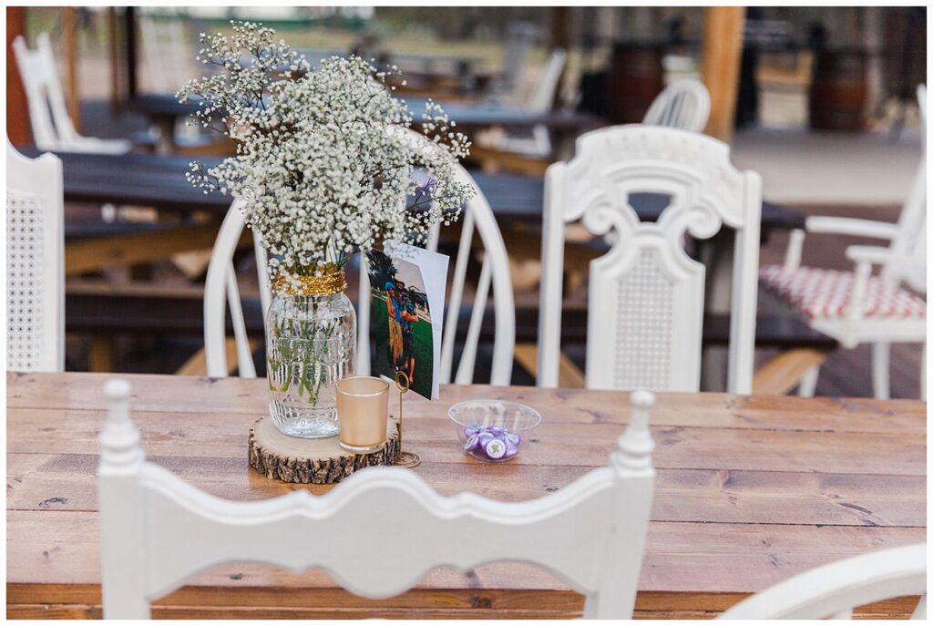 Wedding day decorations for outdoor Texas styled wedding at Fort Worth Country Memorial Wedding Venue photographed by Dallas wedding photographer Jenny Bui of Picture Bouquet Studio.