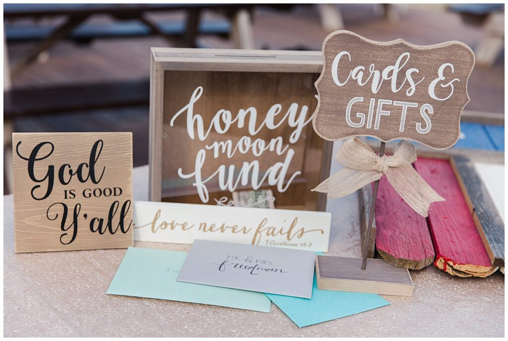Honey moon fund box for outdoor Texas styled wedding at Fort Worth Country Memorial Wedding Venue photographed by Dallas wedding photographer Jenny Bui of Picture Bouquet Studio.